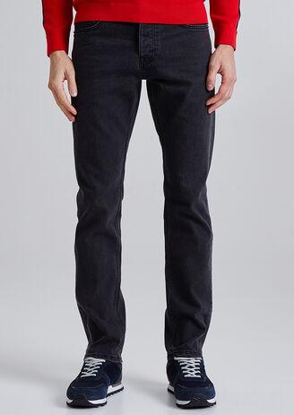 Straight jeans, gewassen zwart, 4L