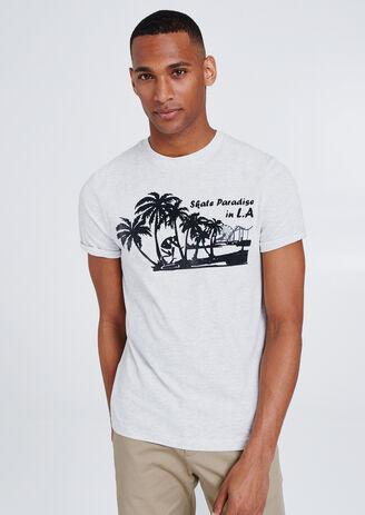 T-shirt met flockopdruk 'Skate Paradise in LA'