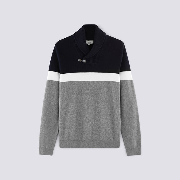 Pull col chale jacquard