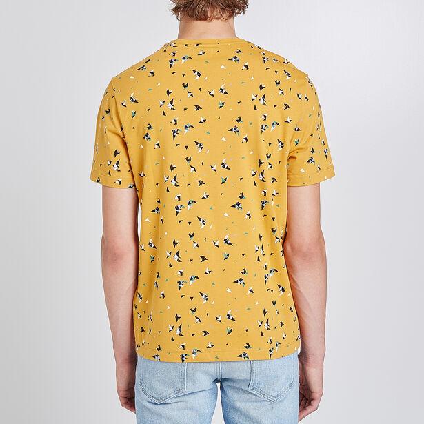 T-shirt collo rotondo stampa uccelli grafici