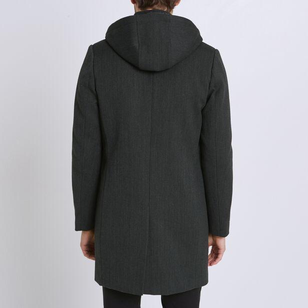 Cappotto di lana con cappuccio e paramontura amovi