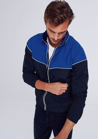 Blouson color block capuche