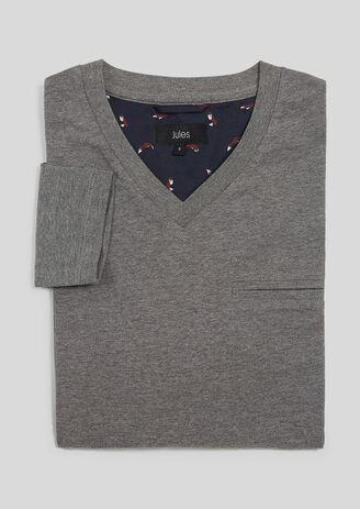 Pyjashirt met V-hals