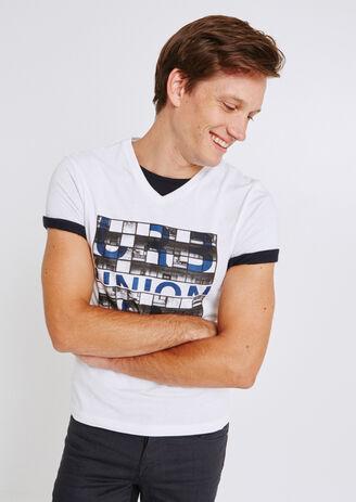 Tee shirt col V imprimé urban union