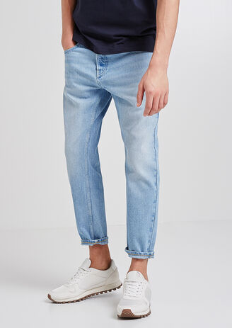 Jean Tapered cropped délavé