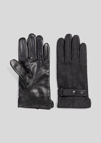 Handschoenen in een mix van stoffen en leder