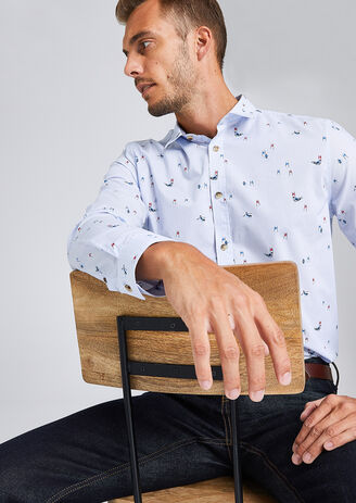 Recht hemd met print