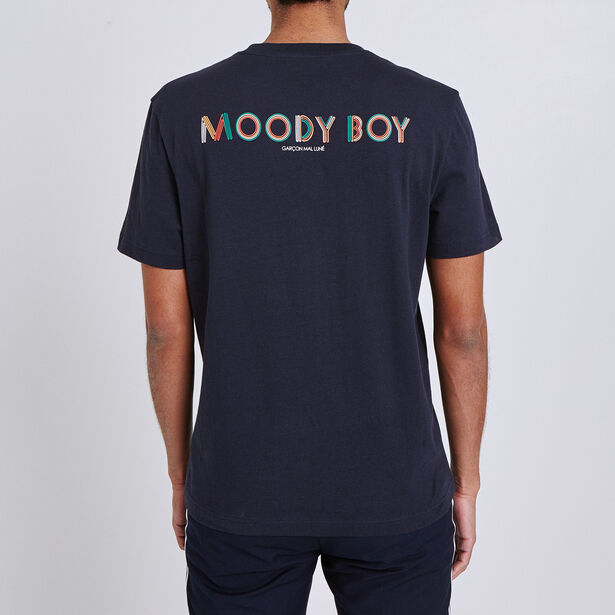 Tee shirt imprimé poitrine et dos moody boy