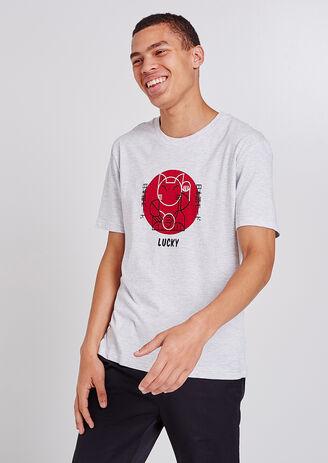 Tee shirt col rond imprimé chat porte-bonheur