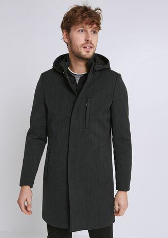 6dc419932981 Manteau lainage capuche et parmenture amovible