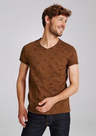 T-shirt met V-hals en bloemenprint
