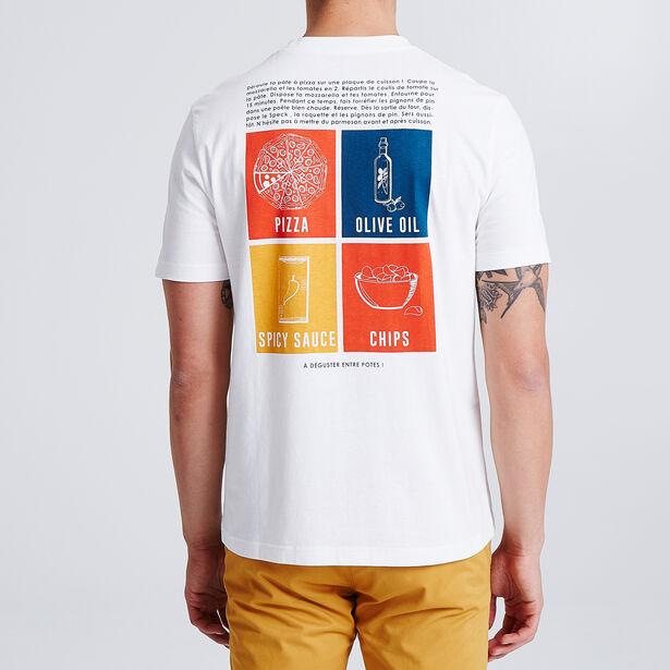 T-shirt met print voor- en achteraan van een pizza