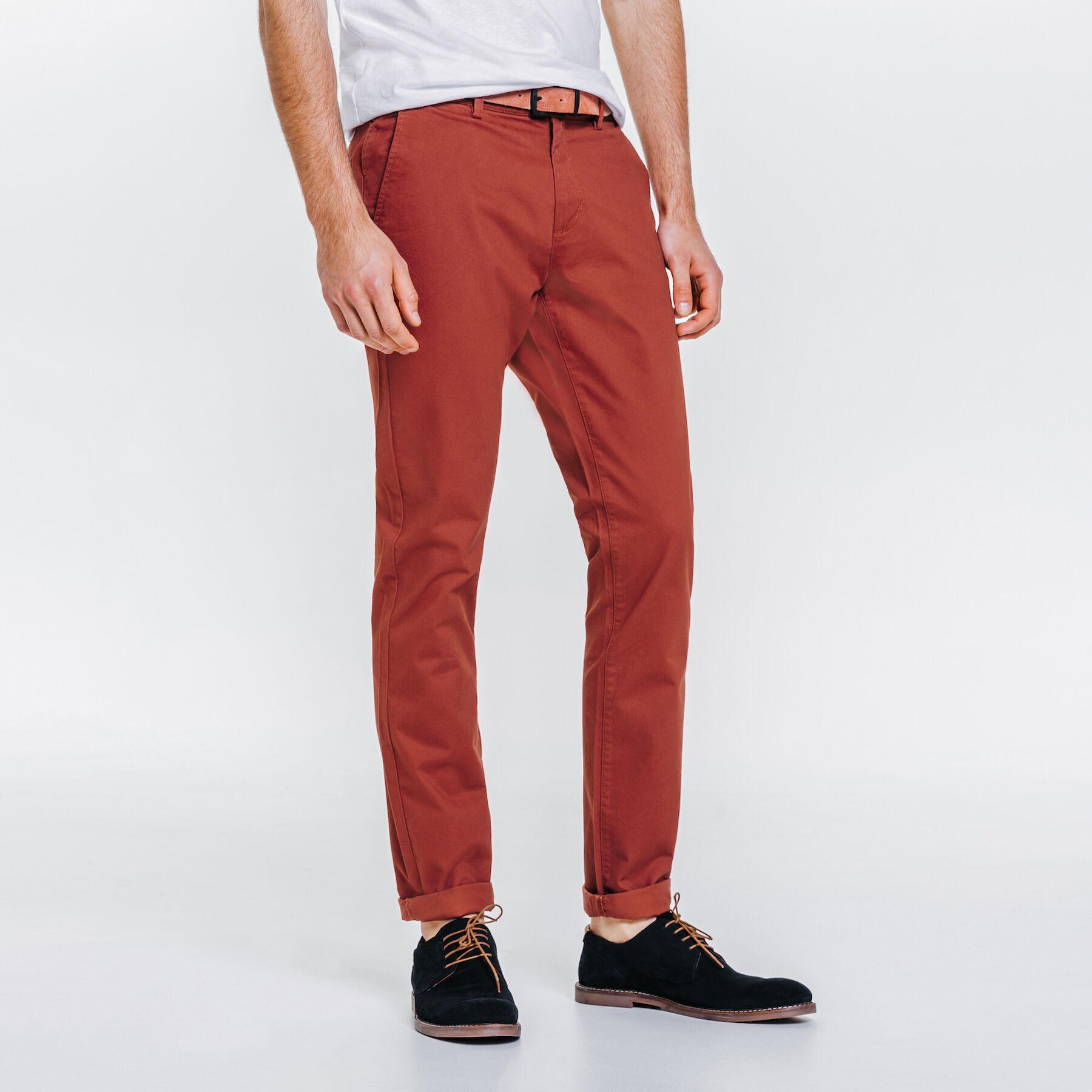 9c5a623ed0f7f Pantalon chino slim coton stretch Rouge Moyen Homme - Jules