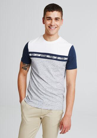 T-shirt colorblock met print op de borst