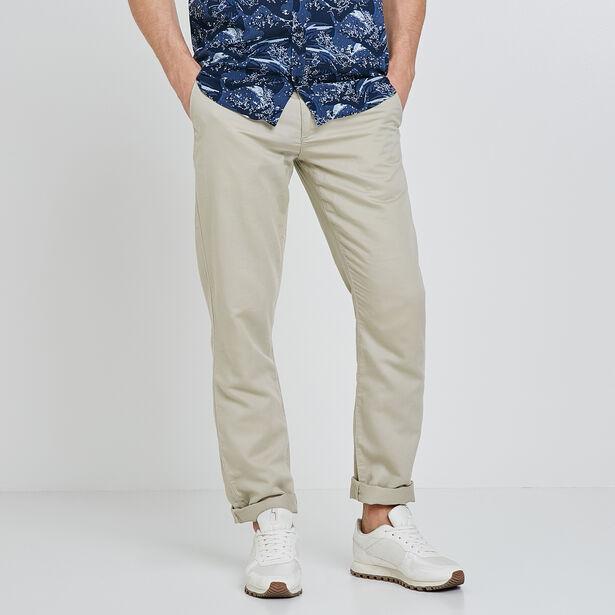 Chino straight coton lin