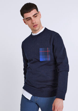 Sweater met ronde hals en borstzak