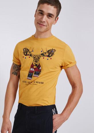 Tee shirt col rond imprimé  Elan d'hiver