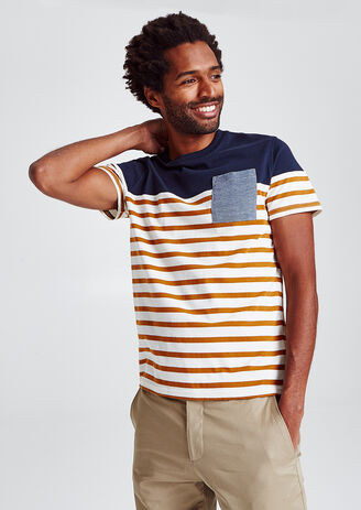 Colorblock T-shirt, marinestijl, met zak