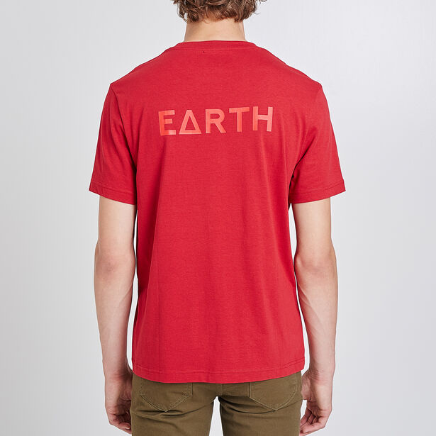 Tee shirt col rond imprimé earth
