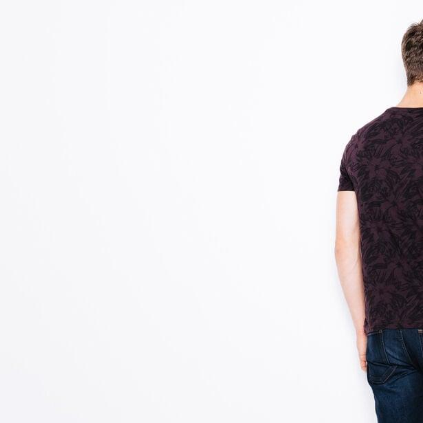 T-shirt col rond imprimé Hibiscus