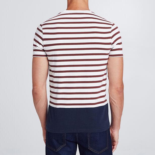 t-shirt colorblock marinière avec poche ,col rond