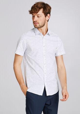 Regular hemd, met print, korte mouw