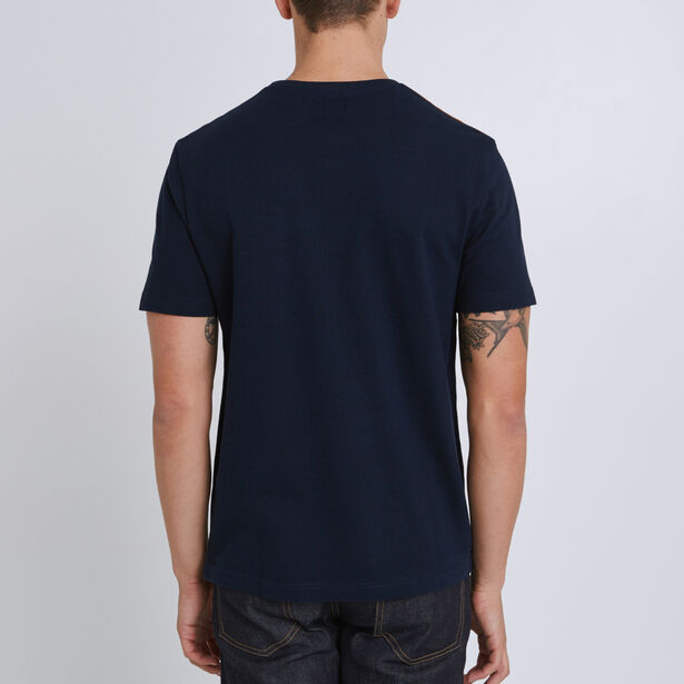 Tee shirt col rond à rayures et colorblock