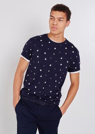 Tee shirt col rond imprimé à motifs japonais