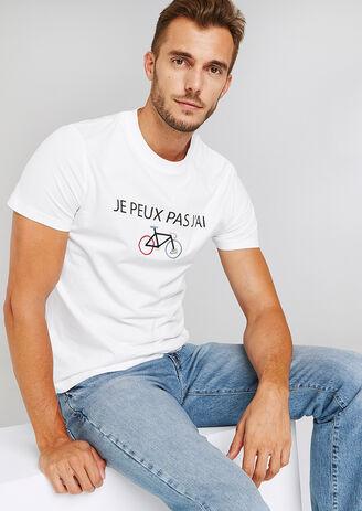 Tee shirt col rond message imprimé et brodé Tour d
