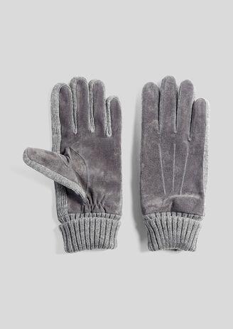 Guanti pelle scamosciata e maglia