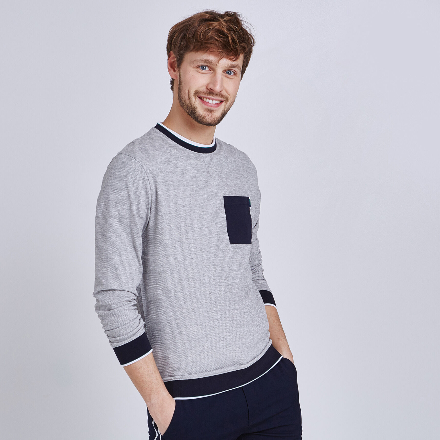À Tee Longues Manches Rond Poche Shirt Col wUOxUqf6p