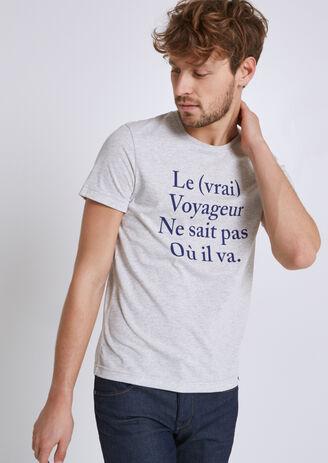 "Tee shirt imprimé ""le voyageur"" 100% made in Franc"