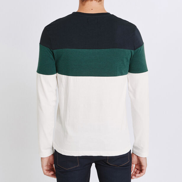 Tee shirt manches longues col rond colorblock floq