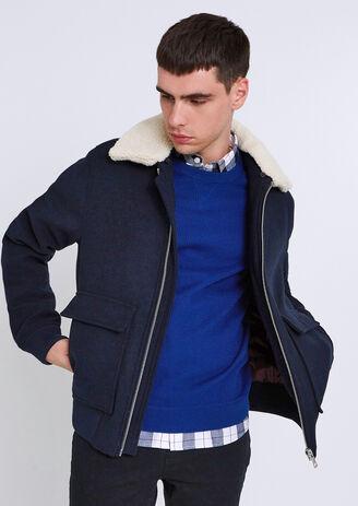 Blouson aviateur drap de laine col mouton amovible