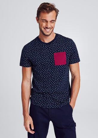 T-shirt imprimé triangle all over avec poche poitr