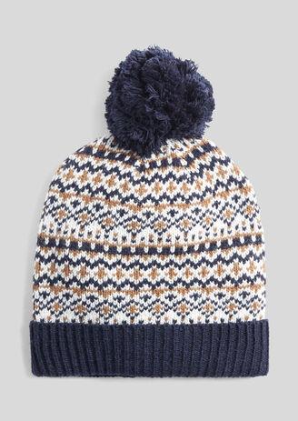 Bonnet motif jacquard à pompon