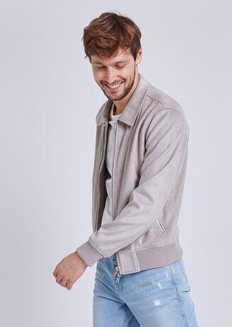 Blouson col chemise suedine zippé