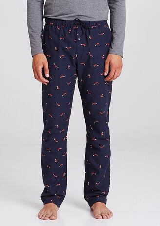 Pantalon de pyjama flanelle motif renard