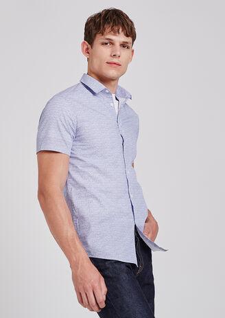 Slim hemd, korte mouw met print