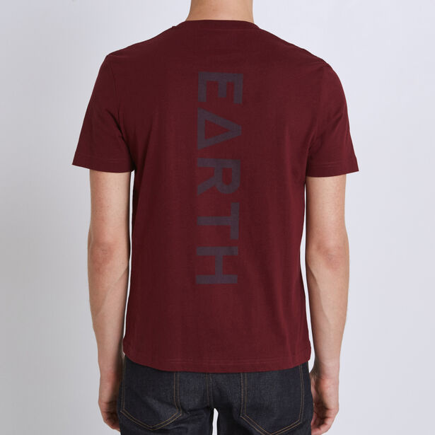 Tee shirt col rond imprimé earth