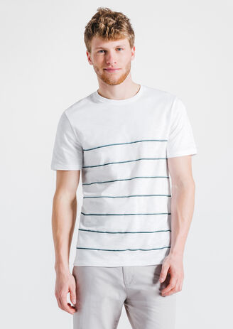 Tee-shirt écru col rond fines rayures