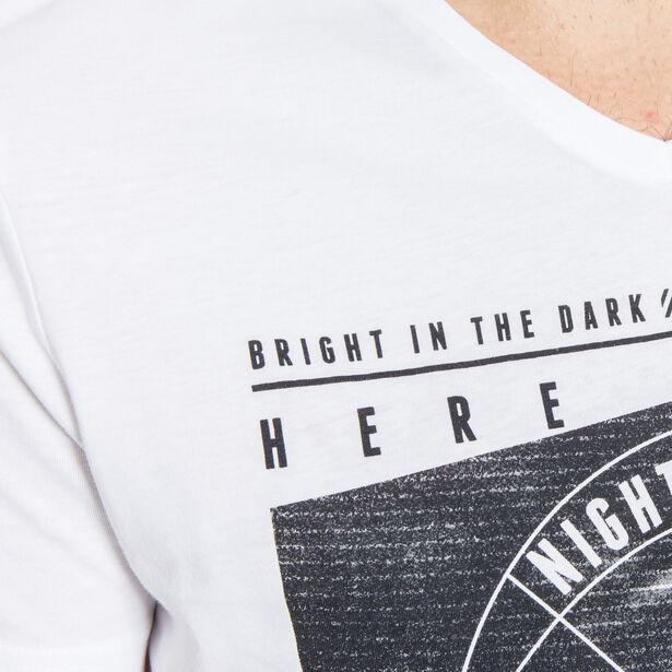 T-shirt col V imprimé placé bicolore