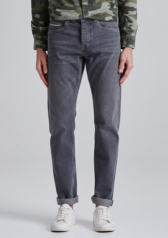Straight selvedge jeans, grijs