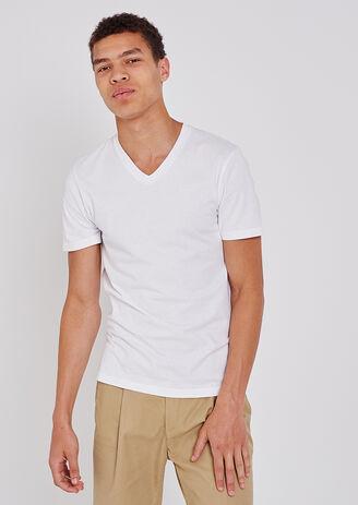 T-shirt collo a V tinta unita