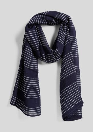 Fijne marineblauwe gestreepte sjaal