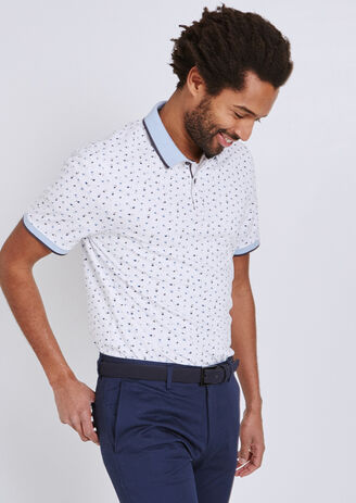 Polo met all-over geometrische print