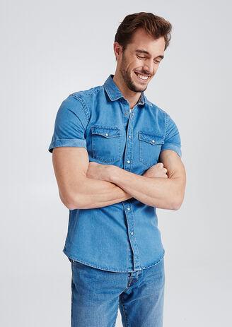 Hemd in jeansstof, korte mouw