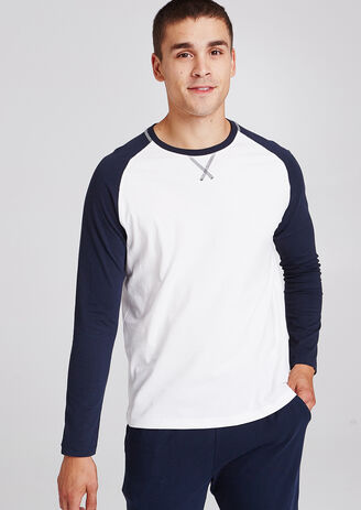 Tee shirt pyjama col rond bicolore
