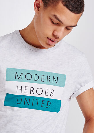 T-shirt ronde hals, opdruk 'MODERN HEROES UNITED'
