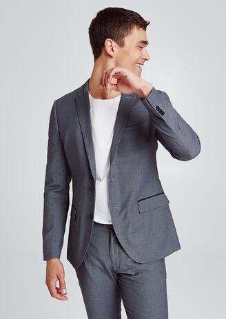 Veste de costume slim à motifs en jacquard gris an